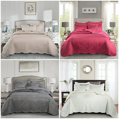3 Piece Quilted Bedspread Set Comforter Bed Throw + Pillow Sham Double King Size