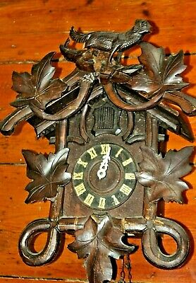 Black Forest Antique Cuckoo Bird Clock Wooden