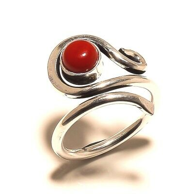 Coral Silver Plated Free Shipping Ring Gemstone Jewelry