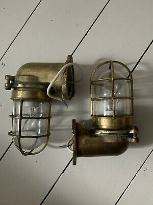 Ships Brass Deck Engine Bulkhead Cage Vintage Light Nautical Maritime Marine