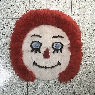 Raggedy Ann Face Vintage Collectible Plush Rug, Excellent Condition Rare Find