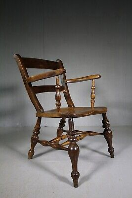 Unusual Oxford Bar Antique Carver Dining Chair in Laburnum