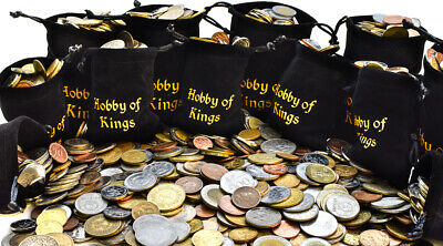 Coins From Many Countries Around The World + Money Bag, Purse, Pouch