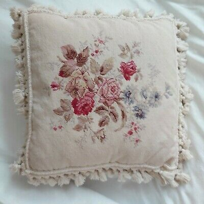 Tapestry Cushion cotton velvet feather fill tassled floral shabby chic 18 in x18