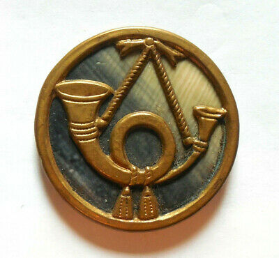 """Antique Two Tone Celluloid in Metal Button with Applied French Horn 1"""""""