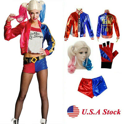4PCS Costmues Harley Quinn Suicide Squad Halloween Adult Cosplay Women Outfit
