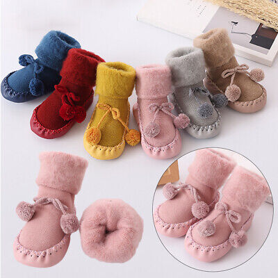 Girls Toddler  Cotton Floor Socks Flats Soft Slippers Baby Shoes Kids Booties