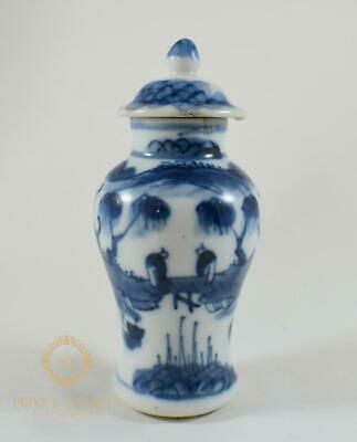 Antique 19Th Century Chinese Porcelain Miniature Vase & Cover