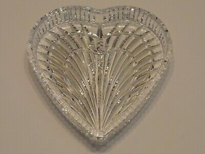 "Waterford Crystal 7 1/2"" Large Heart Shaped Dish Vanity Tray, Signed"