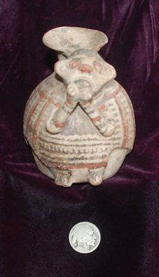 Pre-Columbian ~ MAYAN ~ Pre-Colombian Terracotta Polychrome Zoomorphic VESSEL ~