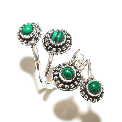 Malachite Silver Plated Free Postage Ring Jewelry