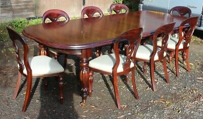 1960's Mahogany Dining Suite Pullout Table and Set 8 Balloonback Dining Chairs