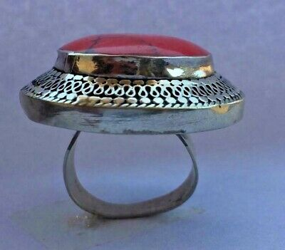 Afghan Princess Red Turquoise Stone  Ethnic Tribal Handmade Round Shape Ring
