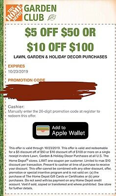 One (1x) Home Depot $10 off $100 Coupon Fast EDelivery Expire 10/23/19