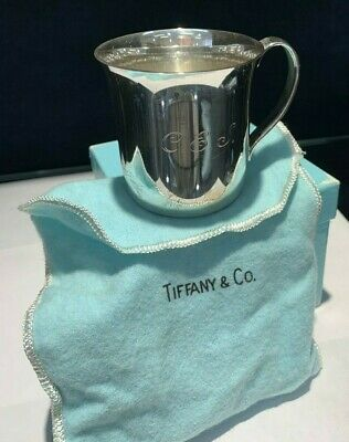 Tiffany & Co. Makers Sterling Silver Baby Cup Monogrammed With Pouch & Box 23245