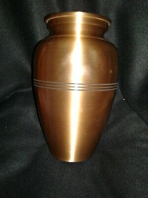 Brass Engraved Band Adult Cremation Urn for human ashes, Used only once.  H=10""