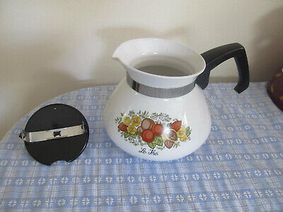 Corning Ware Spice of Life 6 Cup Teapot Tea Pot with LID Good Used Shape!~