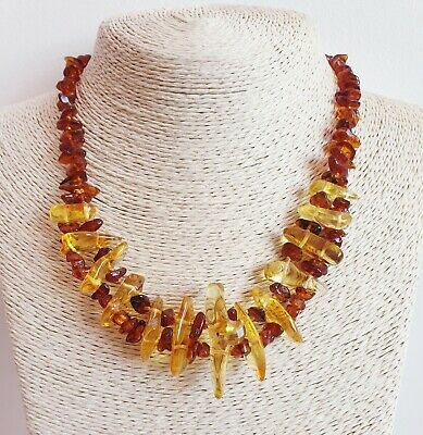 Natural BALTIC AMBER Necklace 2 Lines With Honey Color Stones 22 g