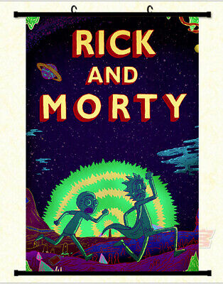 Rick and Morty Adventure Running framed Poster with hooker and frame, Size 24x36