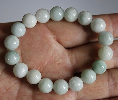 100% Natural Jadeite Jade Grade A Beautiful Light Green Beaded Bracelet #359