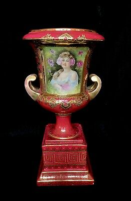 Antique Royal Vienna Red Porcelain Bolted Urn Lovely Lady Transfer Portrait