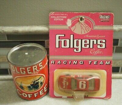 Vintage Folgers Coffee Puzzle Tin  + Folgers Race Car on CARD - Rare Finds