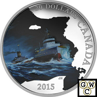 2015 S.S. Edmund Fitzgerald-Lost Ships Colorized Proof $20 .9999 Silver(17486)NT