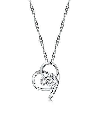 14K White Gold Plated Heart Necklace - Fashion Jewelry Pendant on Chain - Gift