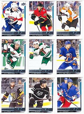 2018-19 Upper Deck Series 1 YOUNG GUNS Lot of 17 RC Cards SEE LIST Pettersson
