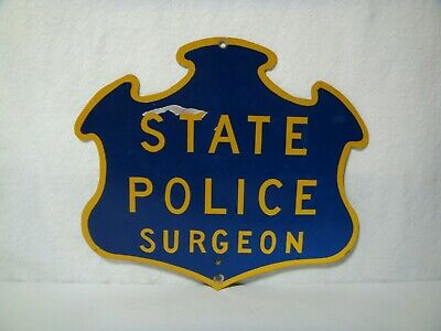 Vintage 1964 Connecticut State Police Surgeon Coroner Title Marker License Plate