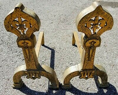 Antique Decorative Set of ADIRONS for fireplace c. 1900s, solid brass