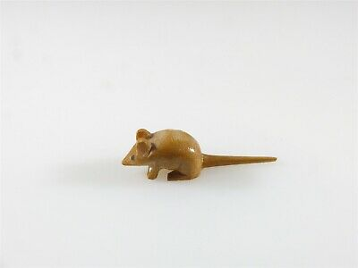 Miniatures Hand Carved Painted Eyes Brown Farm Mouse