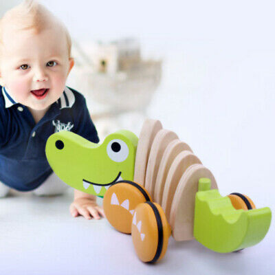 Learn Walk Pull Along Toy Game Wooden Developmental Dragging Early Education