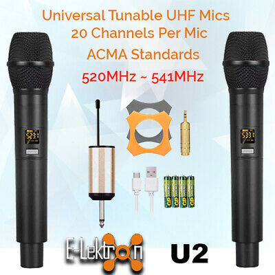 E-Lektron Dynamic UHF Universal 2 Tunable Wireless Handheld Microphone System