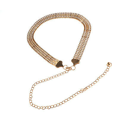 Women Gold Alloy Rhinestone Diamante Chain Waist Belt Diamonds Buckle Party Gift