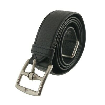 Authentic HERMES Leather Belt  Black D in Square(2000) #f23139