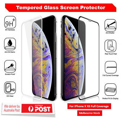 For Apple iPhone X XS Tempered Glass Full Coverage Screen Protector Film Shield