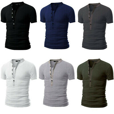 Mens Slim Fit V Neck Short Sleeve Muscle Tee T-shirt Casual Tops Henley Shirts Y