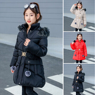 Girls Padded Winter Warm Coat Thick Quilted Jacket Fur Hooded Long Cotton Parka