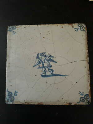 Antique Delft Tin Glaze Tile Cherub Cupid Rare c17th..