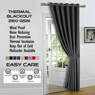 "Dark Grey Thick Thermal Blackout Eyelet Door Curtain 66x84"" Single Panel Tieback"