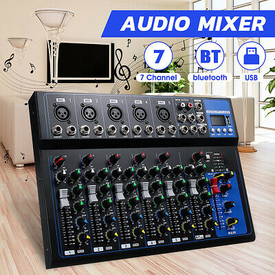7 Channel bluetooth Professional Audio Mixing USB Karaoke Music Stereo Mixer DJ
