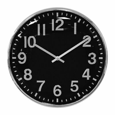 Hometime Chrome Finish Wall Clock 33cm