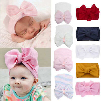 Newborn Infant Striped Soft Hat Baby Rabbit Headband Cotton Bowknot Hair Band CO