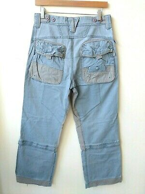 Fat Face Mens Cargo Trousers 30S W30 L30 Grey Blue Cotton Convertible Zips 3/4