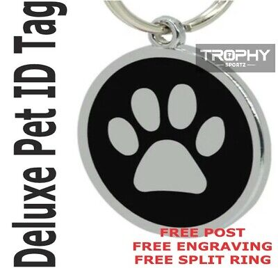 Deluxe Dog PET ID TAG 30mm BLACK puppy paw FREE Custom Engraved Council Rego