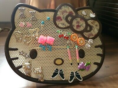 Hello Kitty Earring Holder 16 Pairs Of Earrings Young Girl Job Lot Bundle...