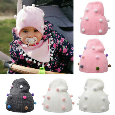 Baby Toddler Boy Girl Double Pom Hat Winter Warm Knit Bobble Beanie Ski Cap Hats