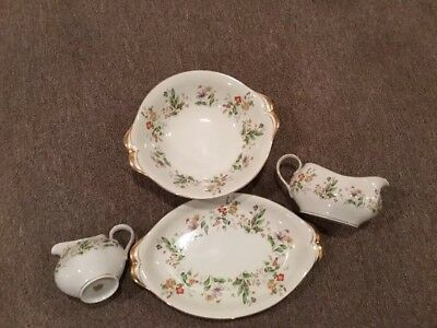 """Vintage Meito Norleans China Occupied Japan""""Spring Garden""""  4 Accessory Pieces"""