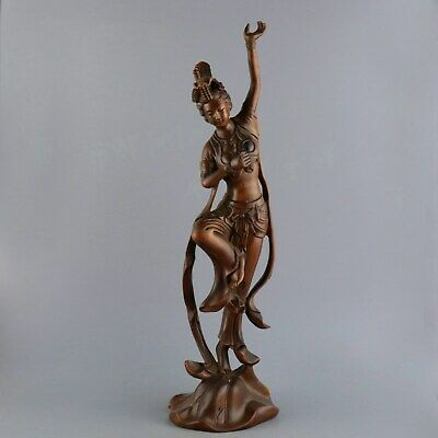 Collectable Handwork China Old Boxwoob Carve Fairy Dance Delicate Decor Statue